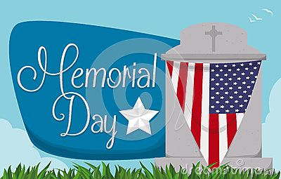 Tombstone decorated with American bunting and greeting sign commemorating Memorial Day.