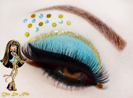 Creative blue and gold eye shadow with crystal accented inspired by Cleo De Nile of the Monster High series.