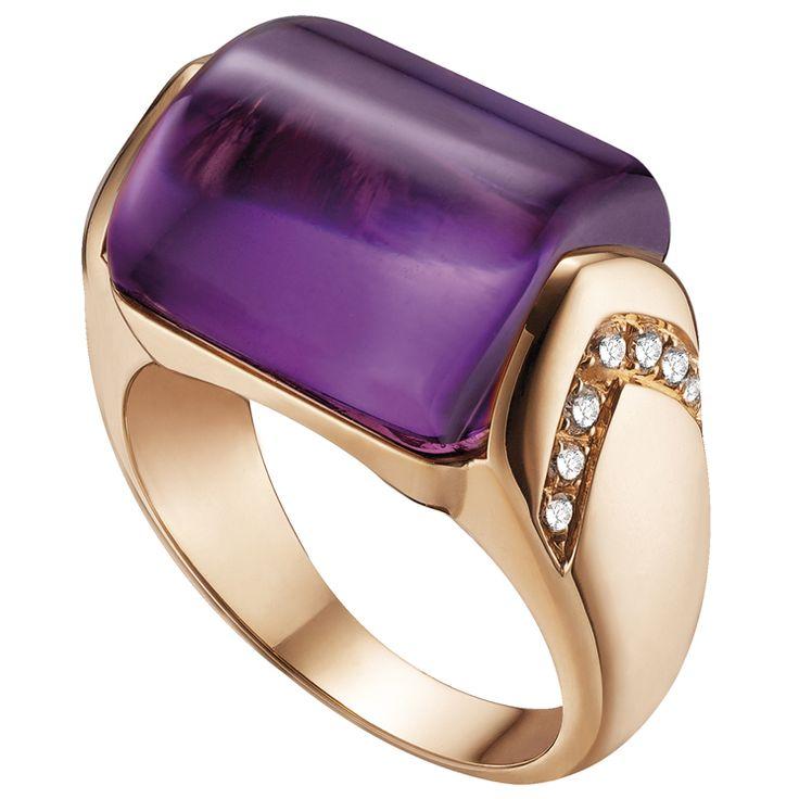 bulgari anello in oro rosa con ametista e diamanti collezione musa see