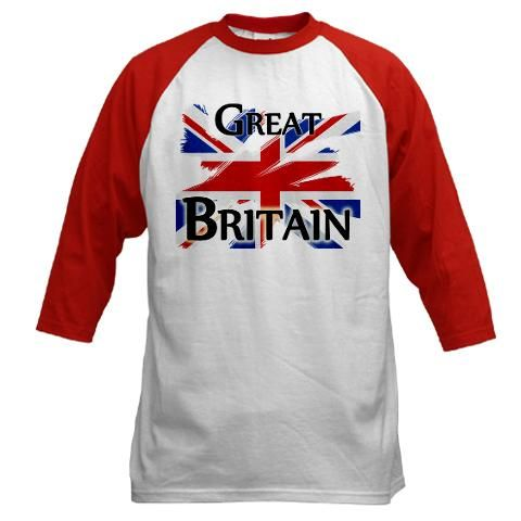 Great Britain Baseball Jersey    http://www.cafepress.com/britshop.639287165    Our 100% cotton Baseball Jersey is a sporty hit with both men and women whether you're in the game or just looking the part in great run-around casual-wear. Choose red, blue or black sleeves.    - 6.1 oz. 100% heavyweight cotton  - Standard fit  - 3/4 length contrasting raglan sleeves $22.99