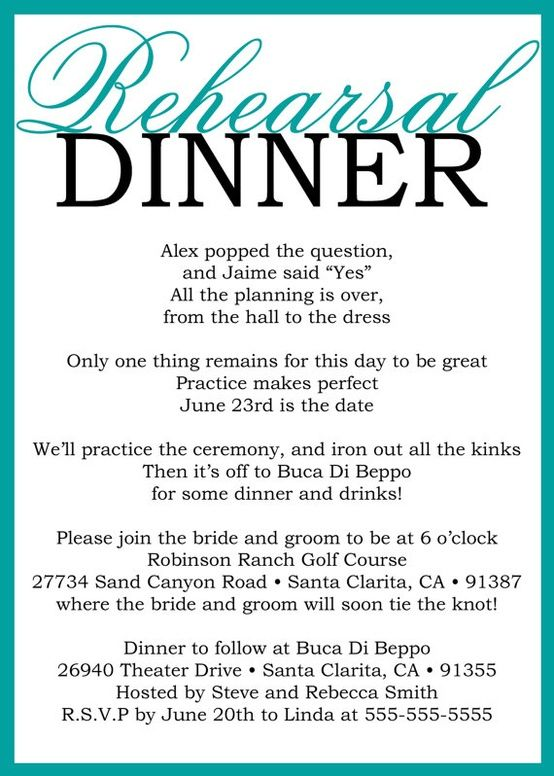 Rehearsal dinner invite - love!