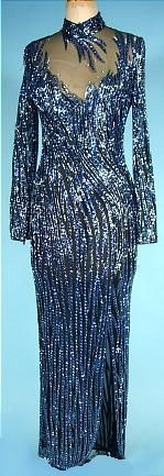 1980's BOB MACKIE Electric Blue Beaded Gown on Black Netting!