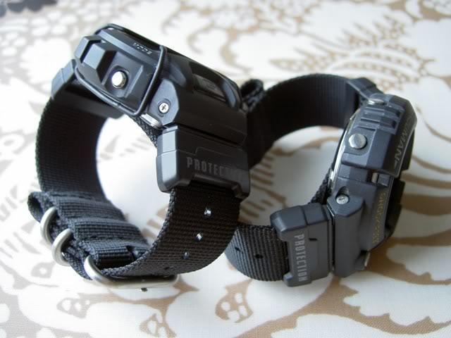 "G-Shock strap adapters - these allow a NATO-type or a Zulu-type strap to be fitted to a G-Shock watch. The original Casio part has the text ""WR20BAR"" printed on one part, and the the other has ""Protection"" printed - but this is not the case any longer. Strap adapters can be obtained in Australia by calling Shriro Australia on 1300 768 112 and asking for Casio part no. 74243710 (price as at May 2013 is AUD $5.50)."
