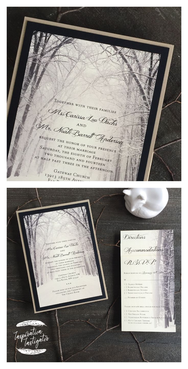 Winter Woods Wedding Invitation by Inspiration Instigator. Check out our website for more! Follow us on Facebook & Instagram too!