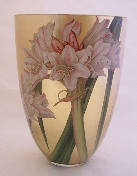 Contemporary Vase Lillies on Gold by Scott Potter