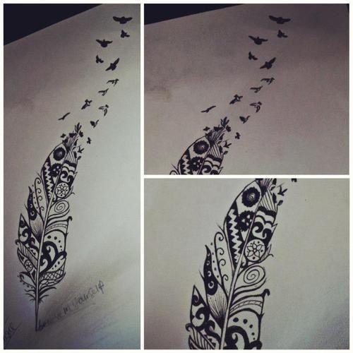 Feather Bird Tattoo Tumblrtattoos Dovxo