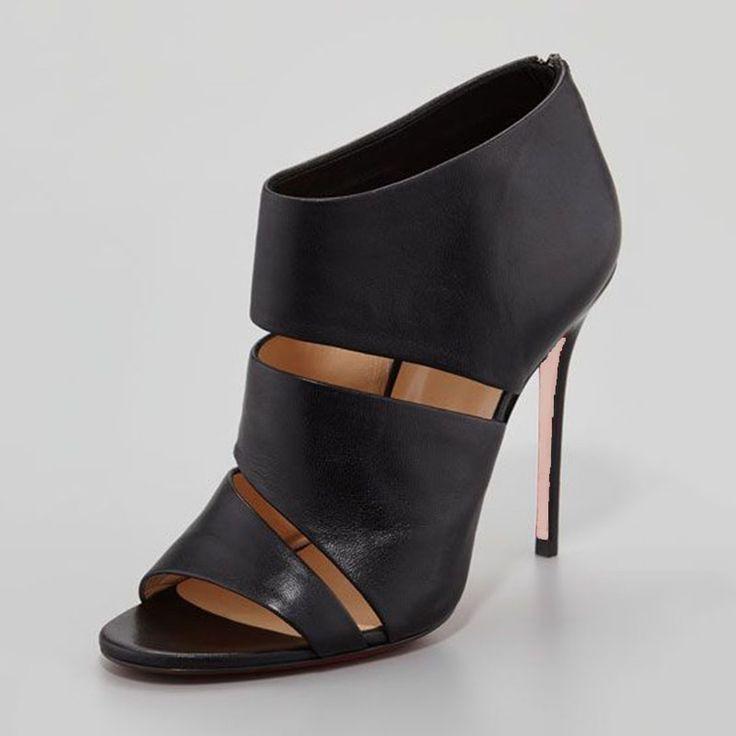 Shoespie Chic Black Laser Cut Stiletto Fashion Booties