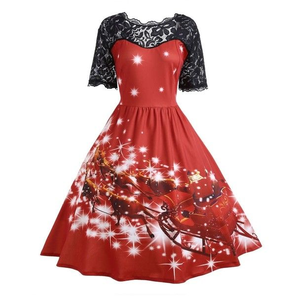 Plus Size Lace Panel Midi Father Christmas Party Dress ($21) ❤ liked on Polyvore featuring dresses, womens plus dresses, plus size dresses, red christmas dress, women plus size dresses and christmas dresses