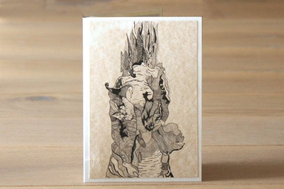 Handmade Blank Greeting Card with Tree Design Pack of by ImanDatoo, £6.00