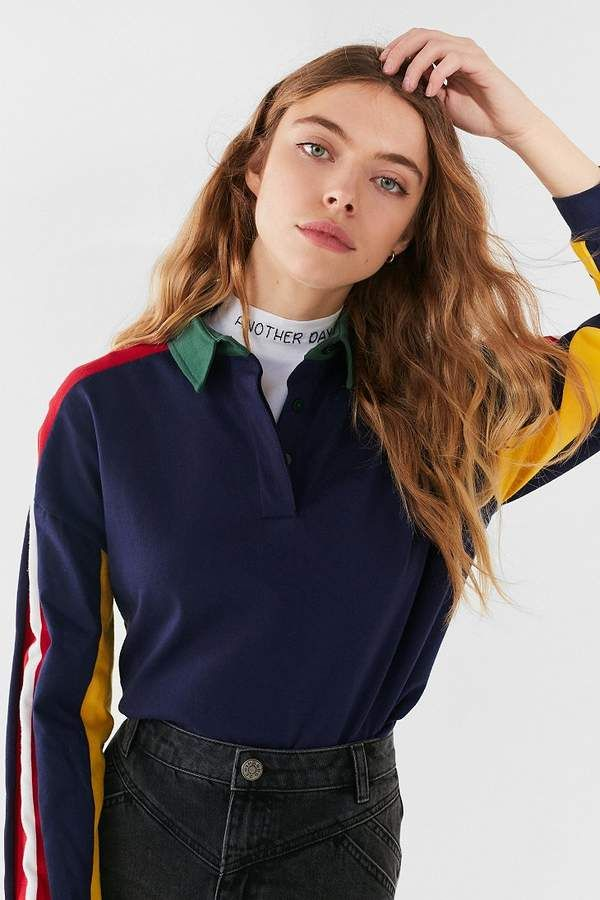 Urban Outfitters UO Long Sleeve Colorblock Polo Shirt Fashion ...