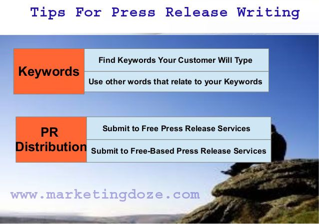 writing press release tips Whether your press release is for your epk, press kit, or blog, here are some tips from industry professionals on how to write a press release and get your music the attention it deserves don't write a press release for everything.
