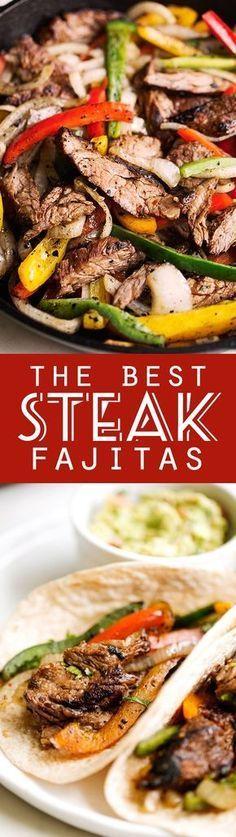 The BEST Steak Fajitas - made with 1 secret ingredient to make them tender and delicious! BETTER than your favorite restaurants! #steakfajitas #fajitas #bestfajitas…