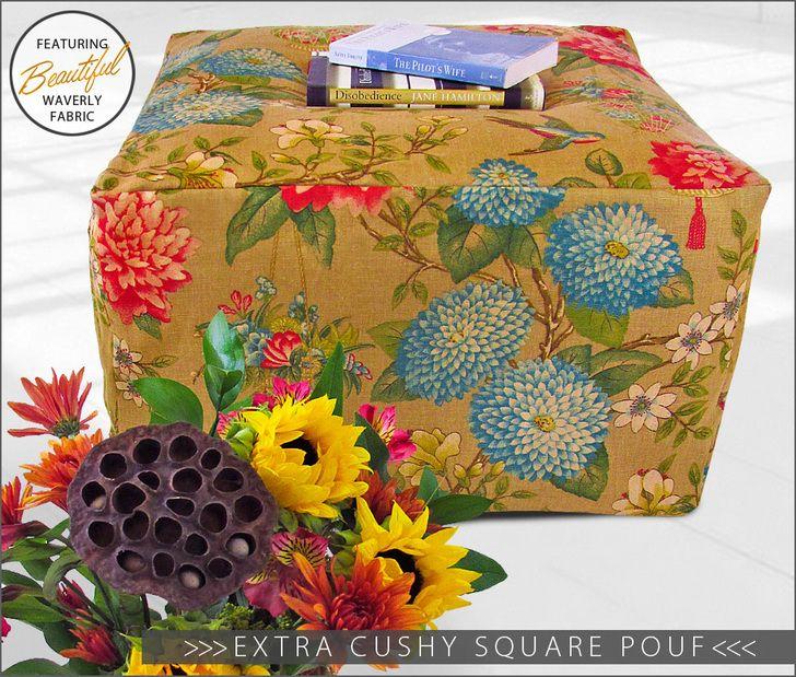 Extra Cushy Square Pouf: Waverly World   Sew4Home