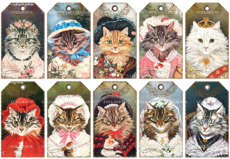 10 Digital Tags Labels, Cat Ladies Printable Cat Images Kitten Clipart, Vintage Ephemeras, Bride Queen Maid Victorian Sunbonnet Pet (T008-t) by collageva on Etsy