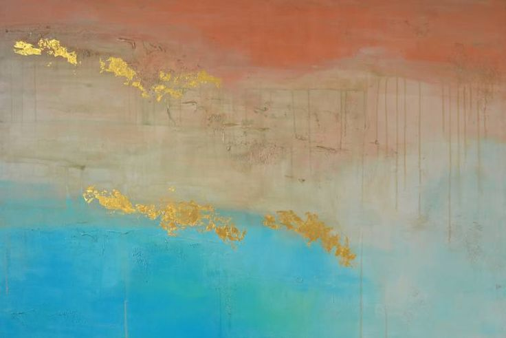 """Saatchi Art Artist Francesca Gnagnarella; Painting, """"VEILED HORIZON"""" Acrylic and Gold leaf on Canvas. Beautiful deep red dirt, matched with see-through aqua tones, brings earth and ocean together in this aerial view from above The Tropic of Capricorn."""
