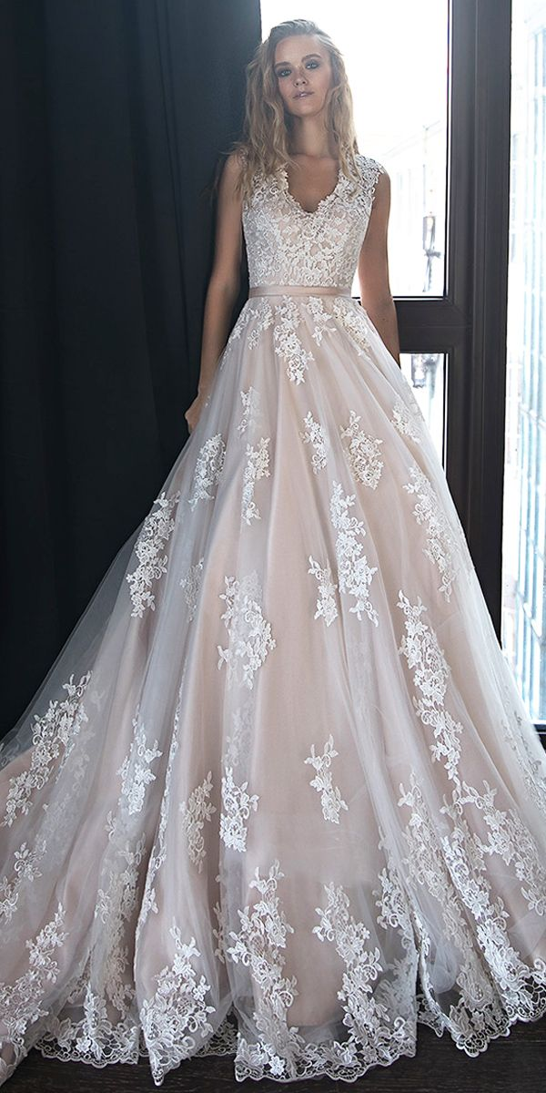 6653715aa2 Chic Tulle V-neck Neckline A-line Wedding Dresses With Lace Appliques   Belt