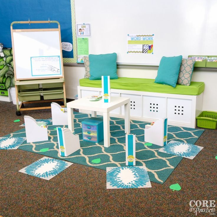 I meet with students on our carpet by the front door for reading conferences and word work activities.