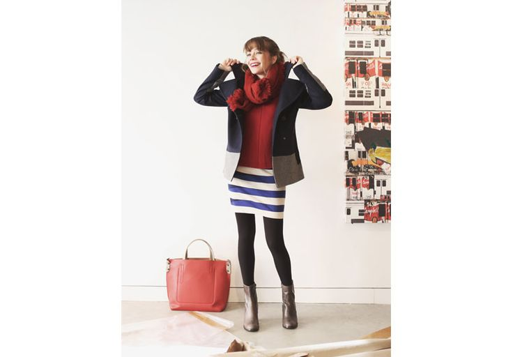 The navy style works in winter too. Sailor coat, striped dress and a touch of red. #pennyblack #ny #sailor #stripeddress