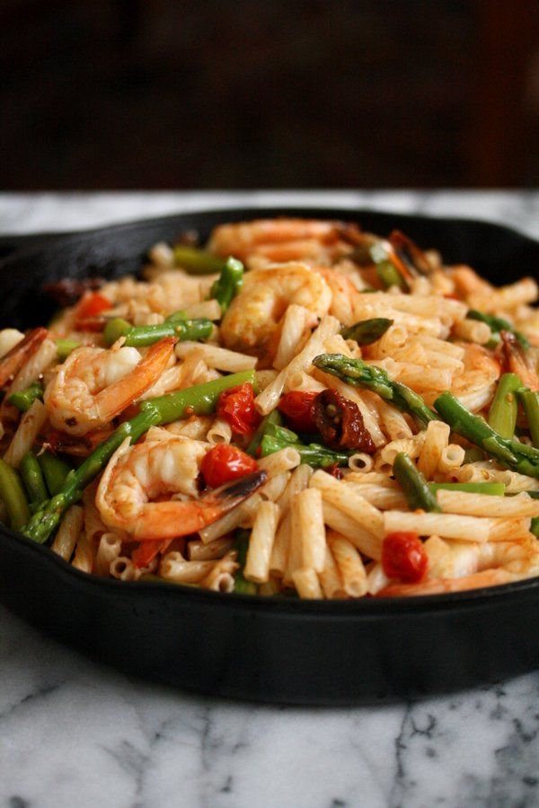 Easy Spicy Shrimp Pasta Salad Recipe with Asparagus, Cherry and Sundried Tomatoes   Gluten-Free Pasta Salad   Healthy Italian Seafood