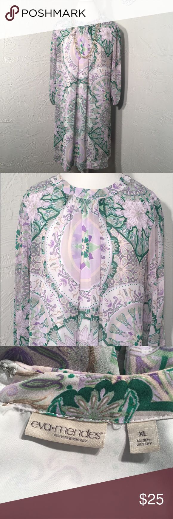 "Eva Mendes NY&Co floral print shift dress Eva Mendes floral print Sabrina shift dress.  Like new condition. 37"" long shoulder to hem. New York & Company Dresses Midi"