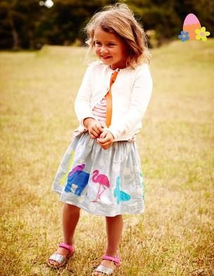 Gorgeous Boden skirt with charming hand cut appliqués . Elasticated waist with functional drawstring !