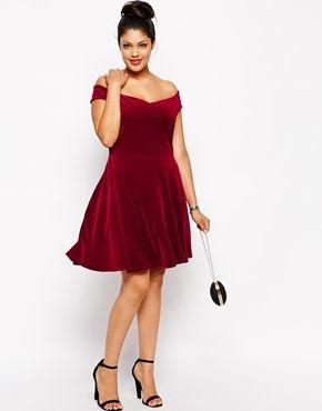 Enlarge Pink Clove Velvet Bardot Skater Dress