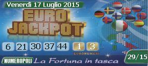 EuroJackpot,euro jackpot,estrazioni online 17-07-2015,Superenalotto europeo di oggi e quote e montepremi