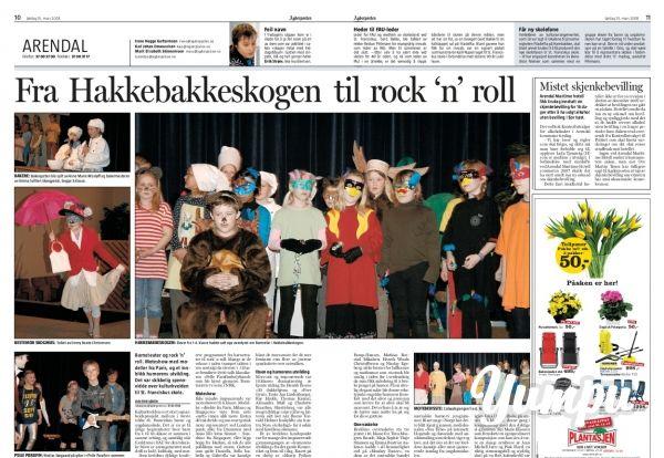 Fra Hakkebakkeskogen til rock`n roll - Magazine with 1 pages: Kulturkveld for St. Franciskus skole (Filadelfia Harebakken, Arendal)