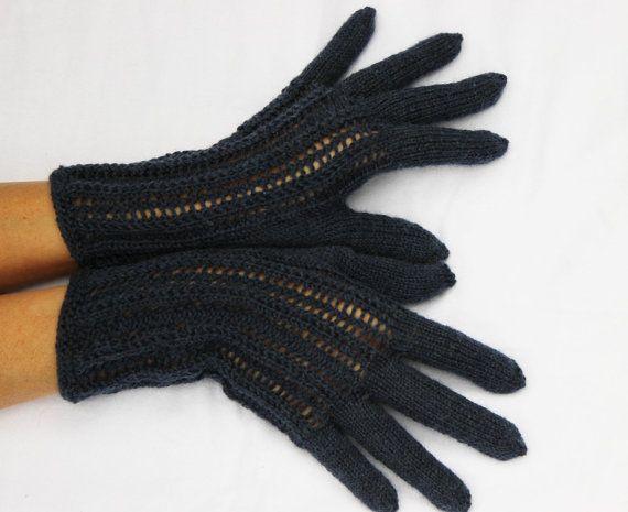 Navy blue Hand Knitted Gloves navy blue Elegant Arm by DriadaD