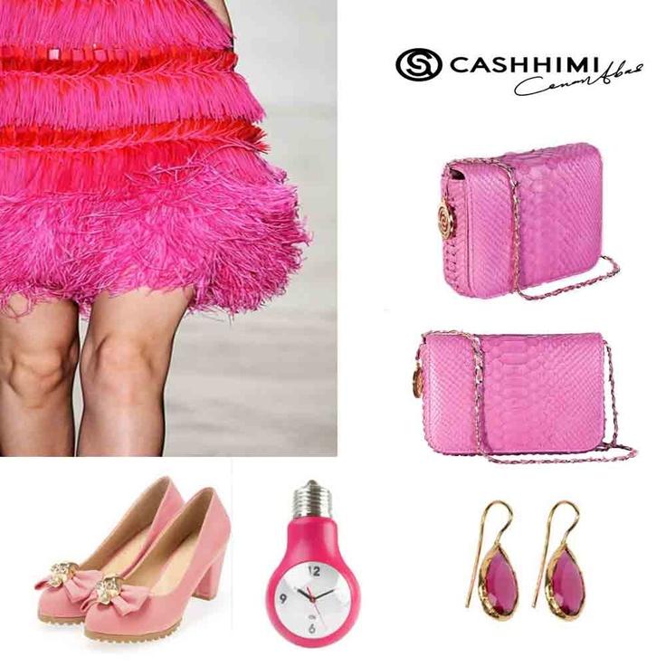 Cashhimi Pink DOWNING Python Clutch
