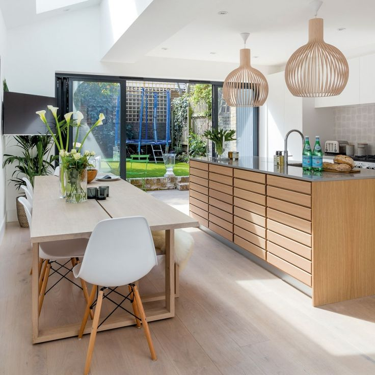 kitchen, natural, wooden, scandi, uplifting, scandinavian, dining room, kitchen, island, wooden, pendant lighting, wooden lighting, stainless steel, white chair, dining table