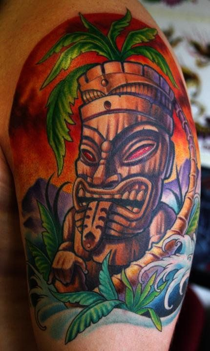 tiki tattoo by cory norris tropical pinterest by on and i love. Black Bedroom Furniture Sets. Home Design Ideas