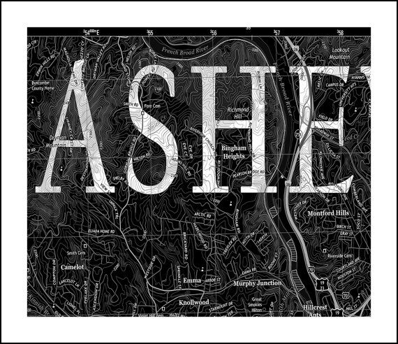 Asheville NC Map.  Vintage Map of Asheville. by WaterColorMaps2, $49.50