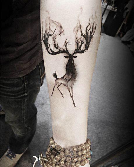 (Min zamówić $0.5) wodoodporna tymczasowy tatuaż tatuaż henną fałszywe flash tatuaż naklejki tatto Taty Rogaty deer