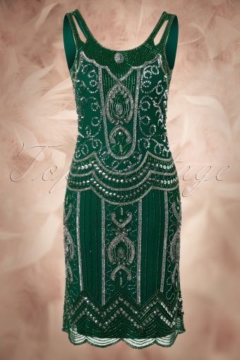 Frock and Frill 20s Flapper Ziegfelt Dress Green 106 40 14003 20140723 0002W