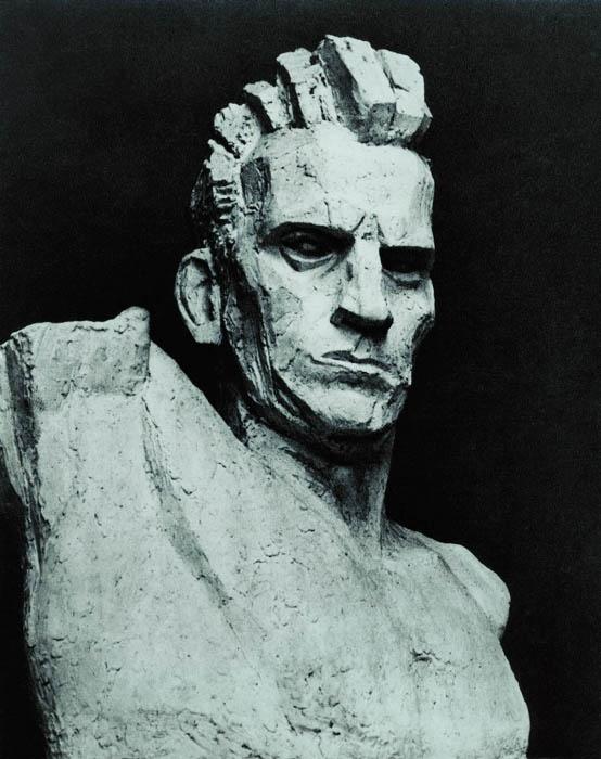 xawery dunikowski, robotnik, 1947-48, odlew gipsowy, patynowany
