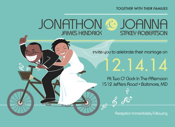 This Showed Off Their Playful Musical Side In Cartoon Wedding Invitation Creatively Ilrated Invitations And Announcements