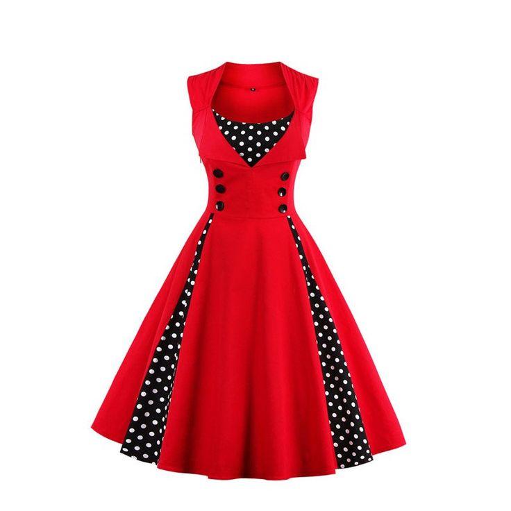 Retro 1950s 60s Polka Dots Pinup Dress