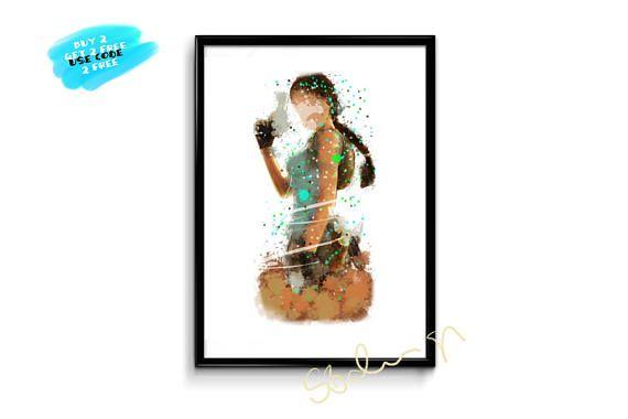Lara Croft Poster Watercolor Tomb Raider Printable Watercolor