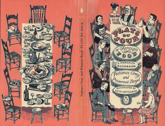 The wonderful David Gentleman's penguin cover for 'Plats Du Jour' pub in 1957.