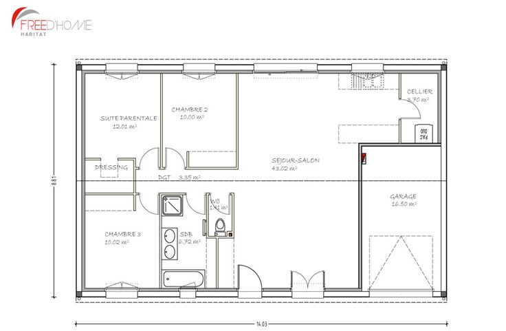 Top Plan maison 90m2 avec garage | Plan maison | Pinterest | Plan  YU93