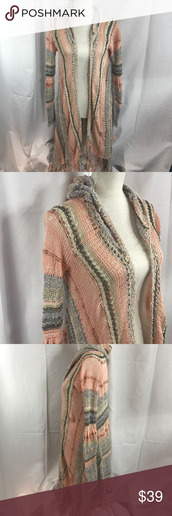 Free People szXS rough knit open hooded cardigan Good used condition Free People szXS rough knit open hooded cardigan w/mangled fringe... Free People Sweaters Cardigans