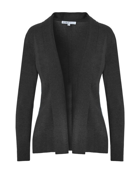 Charcoal Mid Ribbed Cardigan, Charcoal