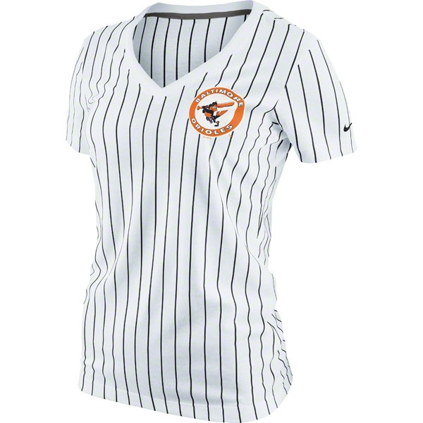 Baltimore Orioles MLB Nike Womens Cooperstown Pinstripe Ole Faithful V-Neck T-Shirt