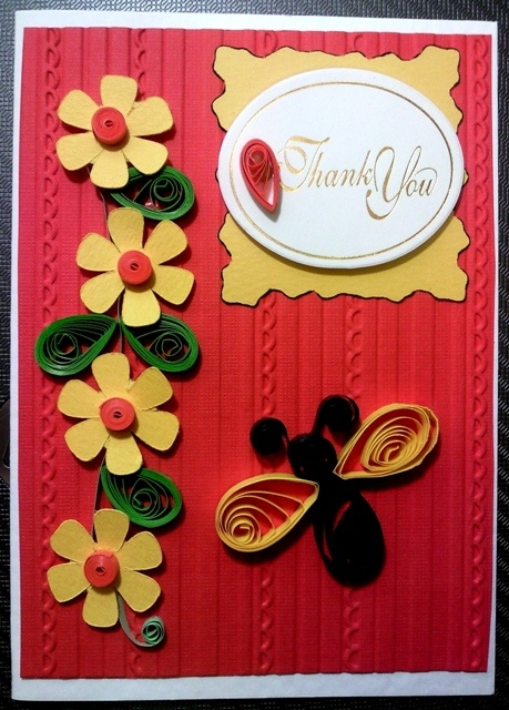 Flower quilling card - thank you