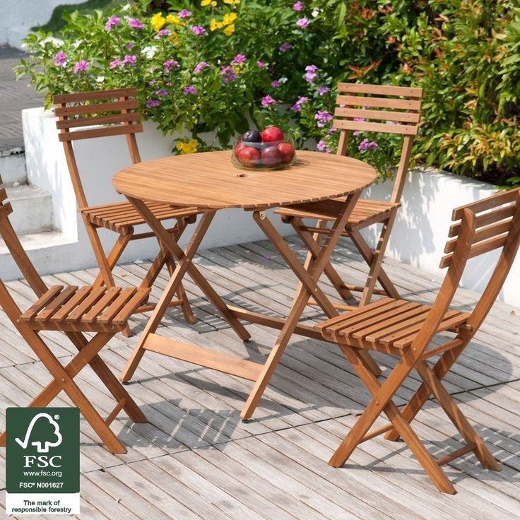garden patio furniture set 4 seater acacia wood dining table chairs outdoor fold - Garden Furniture Chairs