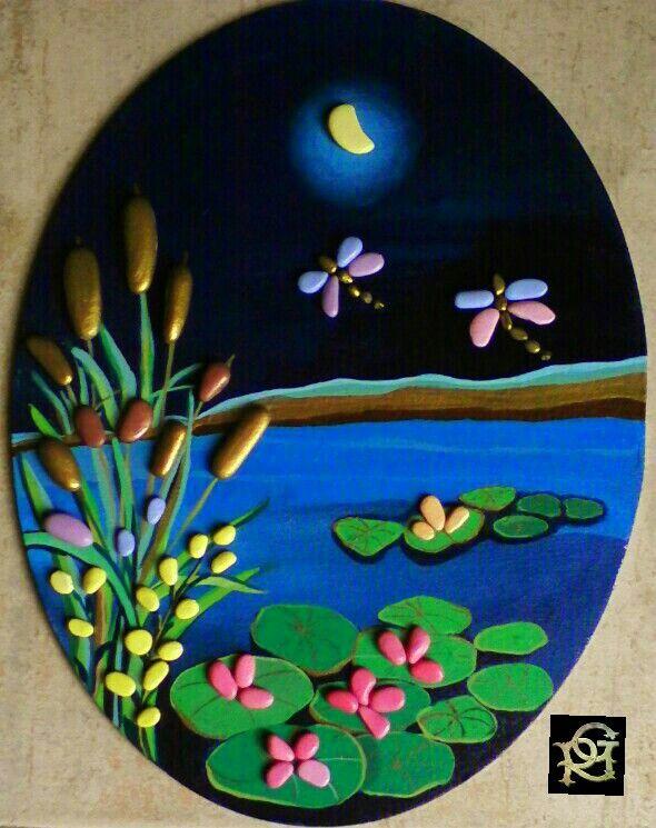 Lo stagno -Painted Stones di Rosaria Gagliardi
