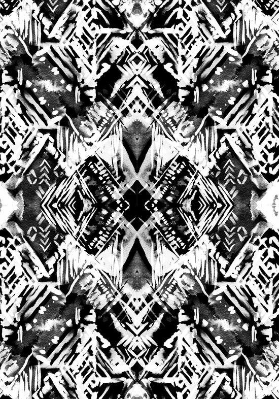 Ikat Print - black & white pattern; monochrome printed textiles // Schatzi Brown