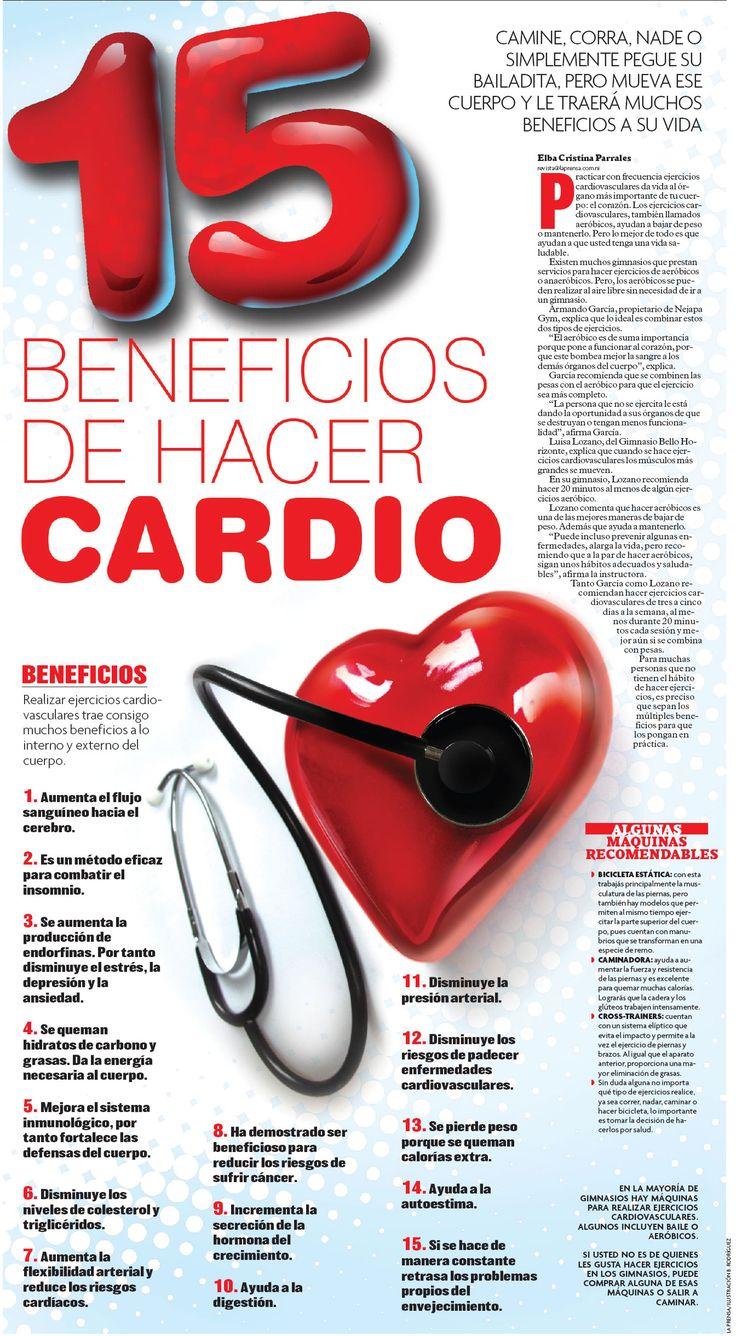 """Tu corazón es el órgano más importante de tu cuerpo, por lo que es primordial mantenerlo saludable. El """"cardio"""" es uno de los ejercicios con más beneficios para este órgano. Echa un vistazo en la imagen y descúbrelos ;)"""