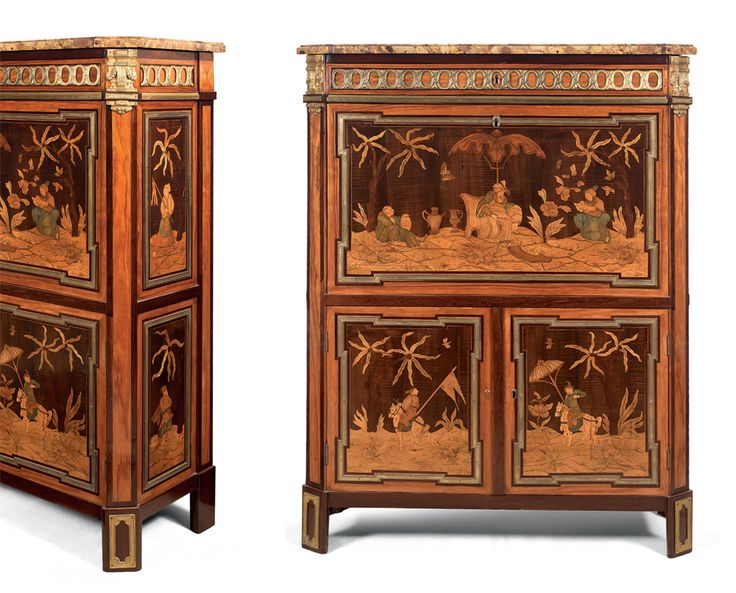 amazing louis xvl secretaire with chinese scenes designed by mark e levasseur with mdr meubles. Black Bedroom Furniture Sets. Home Design Ideas
